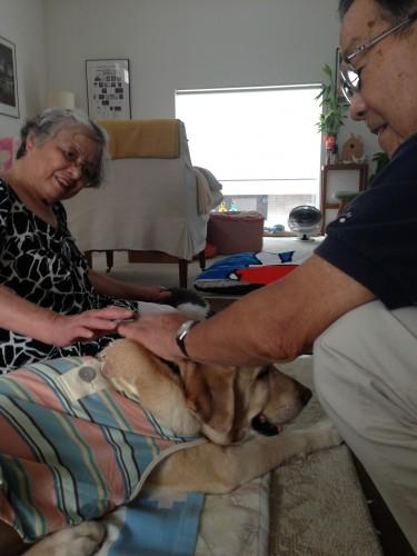 Quinta with grandma and grandpa.